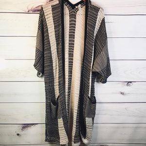 Lucky Brand Black & Tan Long Knit Cardigan REPAIR